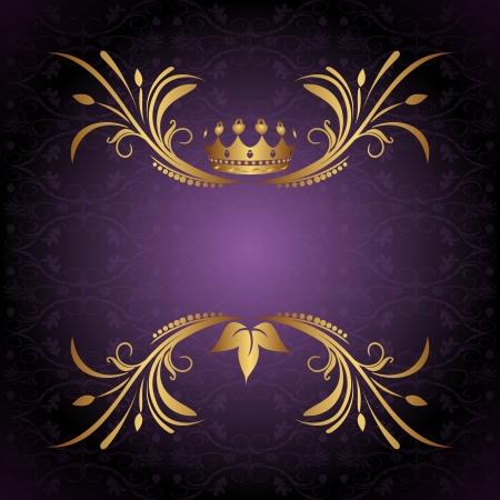 Illustration vintage frame with crown