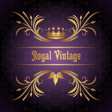 Illustration vintage frame with crown   illustration
