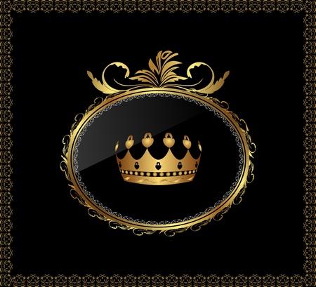 koninklijke kroon: Illustratie luxe gouden ornament met kroon op zwarte achtergrond