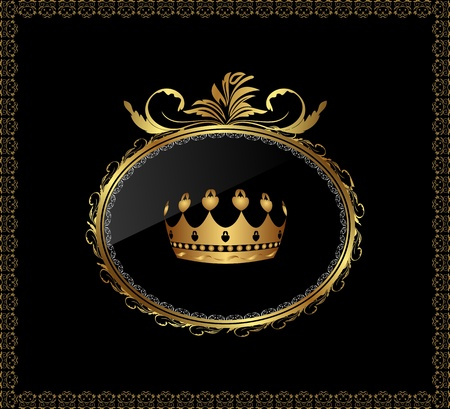 Illustration luxury gold ornament with crown on black background