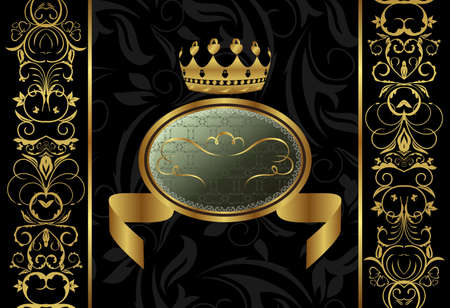 Illustration ornate background with crown Stock Illustration - 8716163