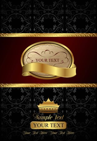 Illustration background with golden luxury label and crown