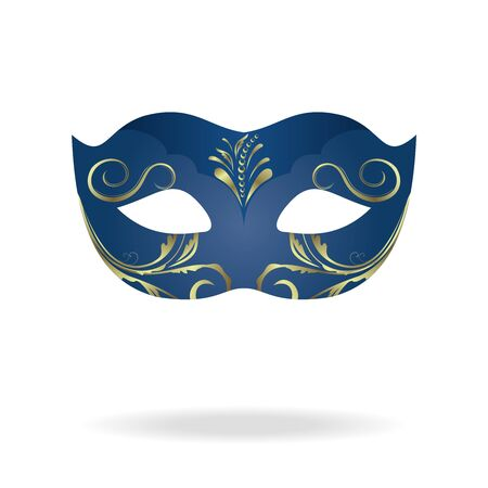 Illustration of realistic carnival or theater mask isolated on white background