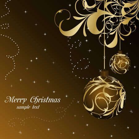 Illustration elegant christmas floral background with balls   illustration