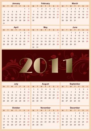 mondays: Illustration  European floral calendar 2011, starting from Mondays