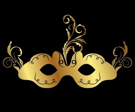 Illustration gold floral carnival mask isolated   illustration