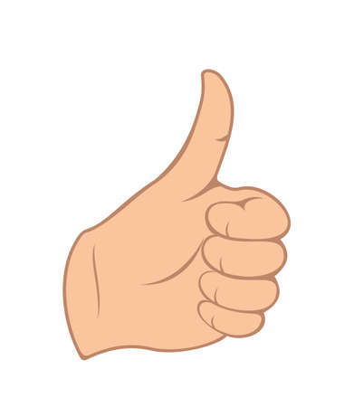 Illustration hand gesture with thumb up isolated on white  illustration