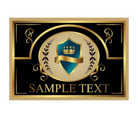 Golden retro label with shield and crown for design packing Stock Photo - 8716405