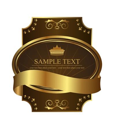Illustration golden royal label on black background with corners   illustration