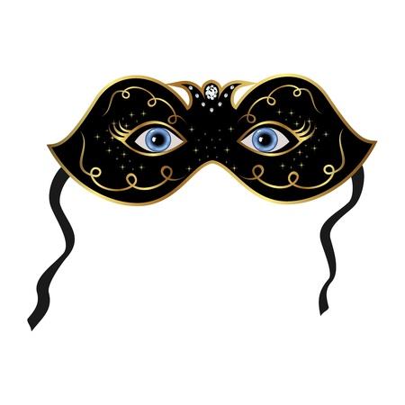 Illustration blue eyes hidden under theatrical mask Stock Illustration - 8716368