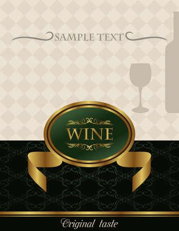 Illustration of gold wine label - vector illustration
