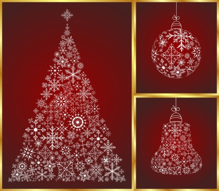 Illustration abstract christmas set pine, ball and bell