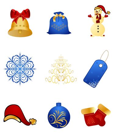 Illustration set New Years, christmas symbols and elements - vector illustration