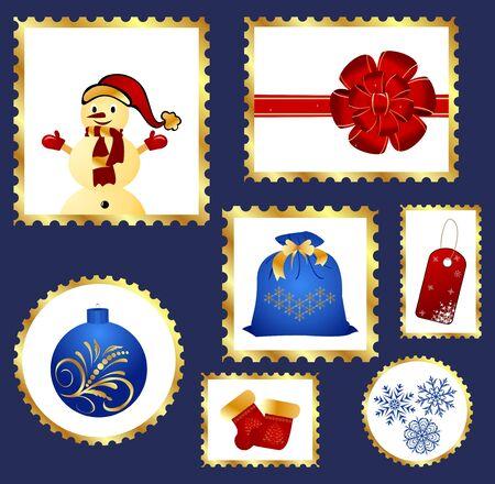 Illustration set of colorful Christmas Postage stamps  illustration