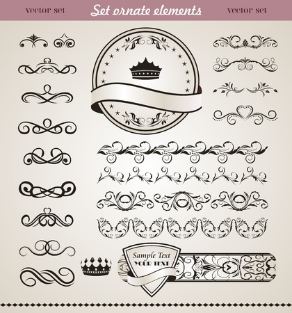 Illustration set floral ornate design element  illustration