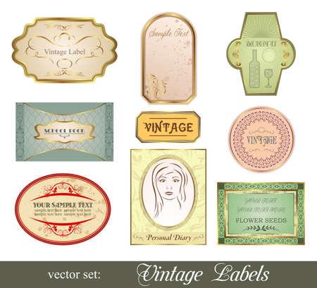 Illustration set retro variation vintage labels  illustration