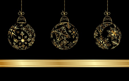 Illustration set Christmas balls made from golden snowflakes