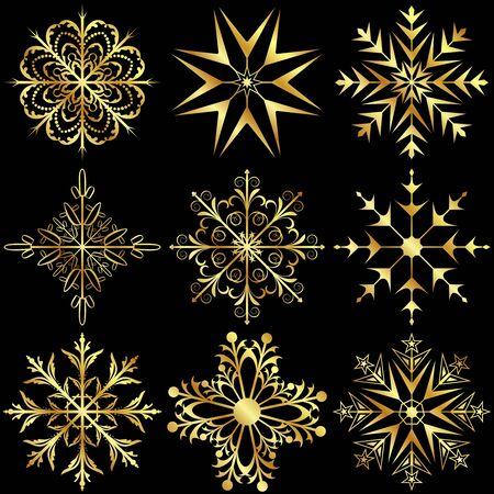 Illustration set large gold snowflakes isolated on black background