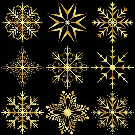 flakes: Illustration set large gold snowflakes isolated on black background