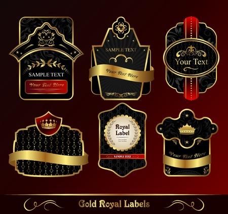 Illustration decorative dark gold frames labels Stock Illustration - 8716473