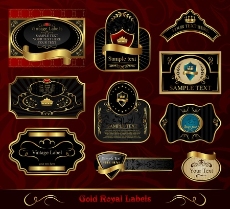 Illustration set black gold-framed labels Stock Illustration - 8716520