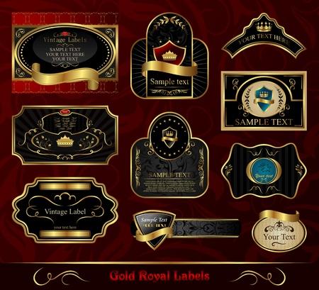 Illustration set black gold-framed labels