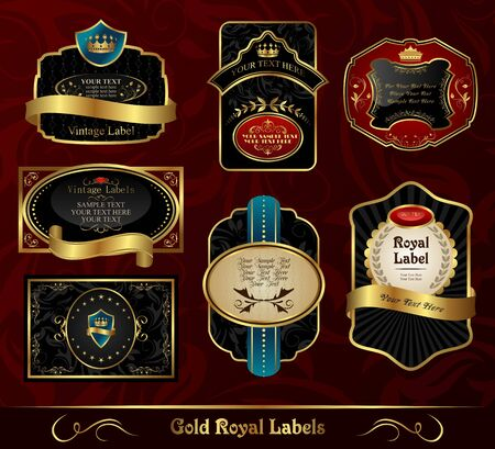 Illustration set black gold-framed labels   illustration