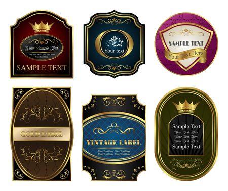 Illustration set colored gold-framed labels