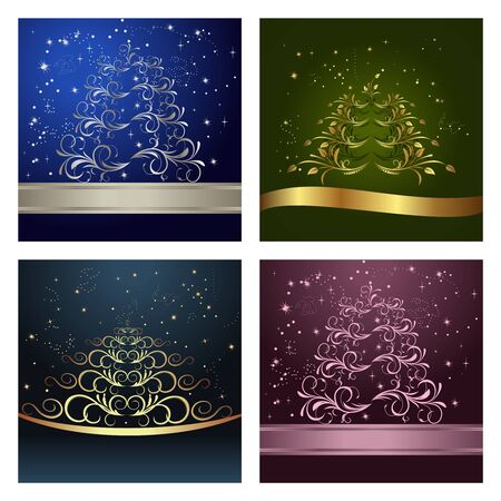 Set Celebration cards with abstract christmas floral tree  photo