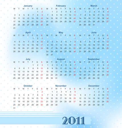 mondays: Illustration  European calendar 2011 in style of techno, starting from Mondays
