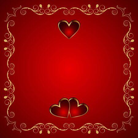 Illustration Valentine greeting card with heart   illustration