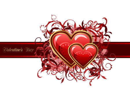 Illustration of Valentines grunge card with hearts - vector illustration
