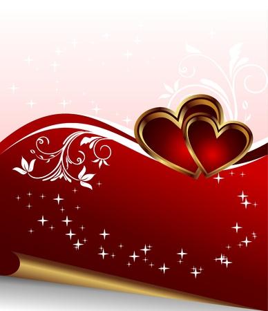 Illustration romantic elegance background with heart - vector illustration