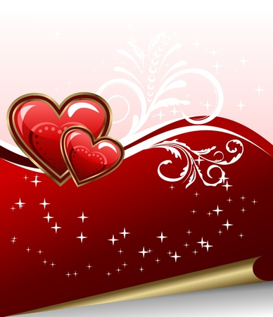 Illustration romantic elegance background with heart - vector