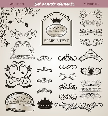 Illustration set floral ornate design elements (3) - vector Vector