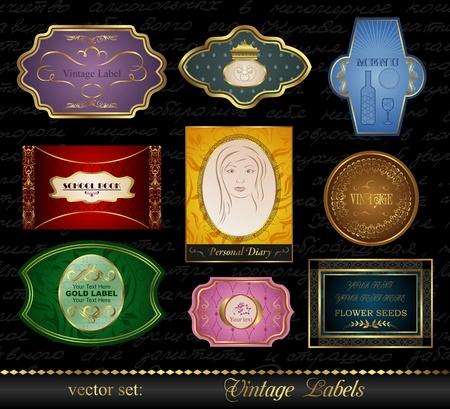 Illustration set colored gold-framed labels (2) - vector