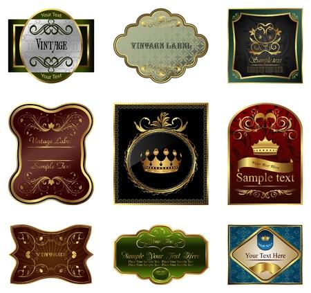 Set illustration of decorative color gold frames labels - vector