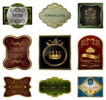 nobile: Set illustrazione di etichette di fotogrammi oro colori decorativi - vector