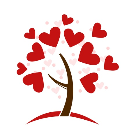 Illustration stylized love tree made of hearts - vector Vector