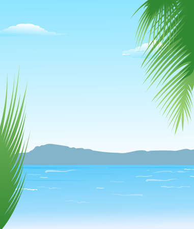 Illustration summer background with beach and mountains - vector illustration