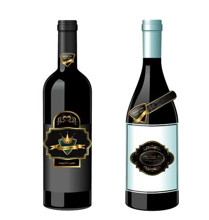 Illustration of set wine bottle with label isolated on white background - vector illustration