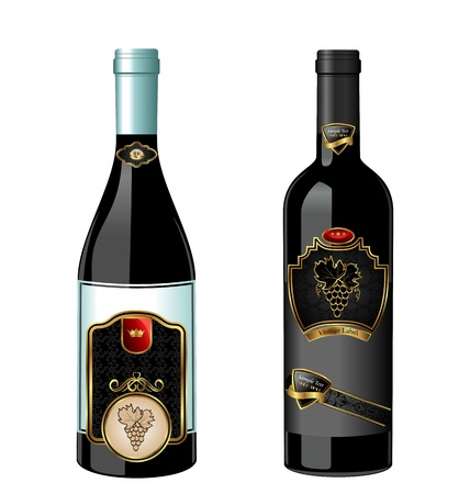 Illustration of set wine bottle with label isolated on white background - vector Stock Illustration - 9247417