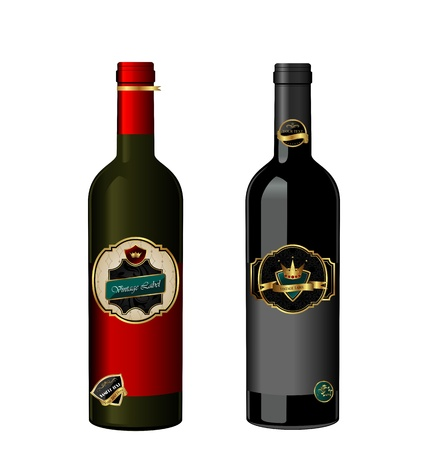 Illustration of set wine bottle with label isolated on white background - vector Stock Illustration - 9247346