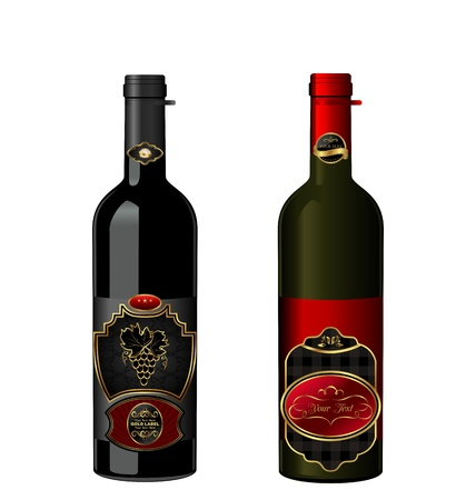 Illustration of wine bottles with attached vintage labels isolated on white background - vector illustration