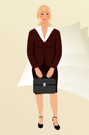 Illustration business women with case isolated - vector illustration
