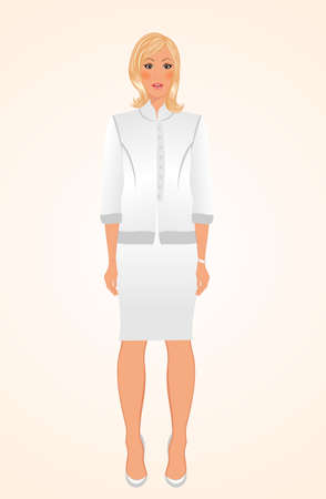 suit skirt: Illustration girl in white business suit isolated - vector Stock Photo