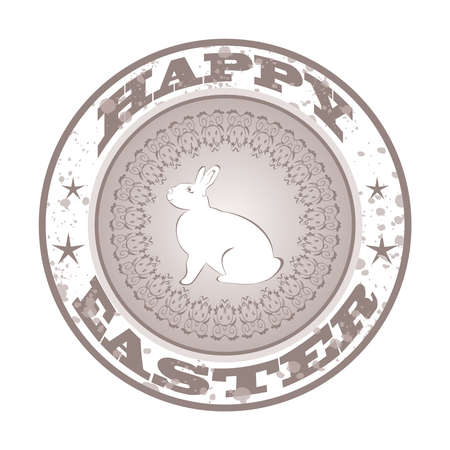 Illustration Easter grunge stamp with bunny - vector illustration