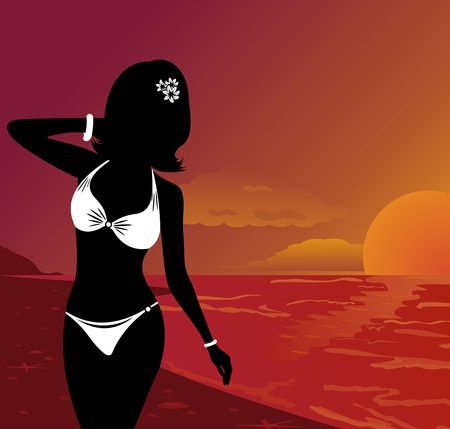 Illustration silhouette beautiful girl at sunset on beach - vector illustration