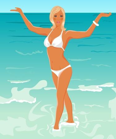 Illustration pretty blond girl on beach - vector illustration