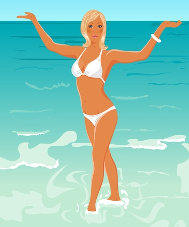 blonde females: Illustration pretty blond girl on beach - vector Stock Photo